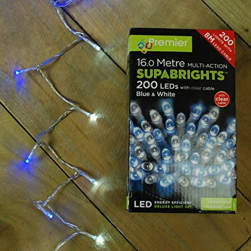 200 Multi Action Warm White LED Supabrights Christmas Lights with Clear Cable