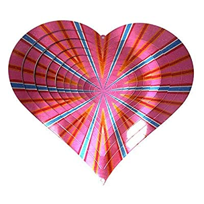 WorldaWhirl Whirligig 3D Wind Spinner Hand Painted Stainless Steel Twister Heart (6.5 Inch, Multi Color) : Garden & Outdoor