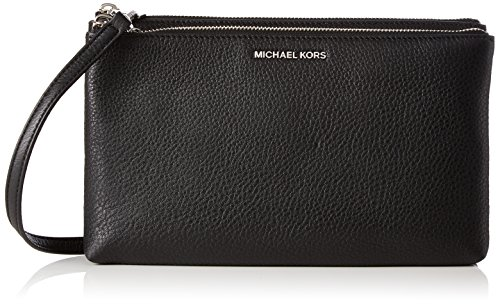 MICHAEL Michael Kors Women's Adele Leather Double Zip Crossbody Bag Black One Size