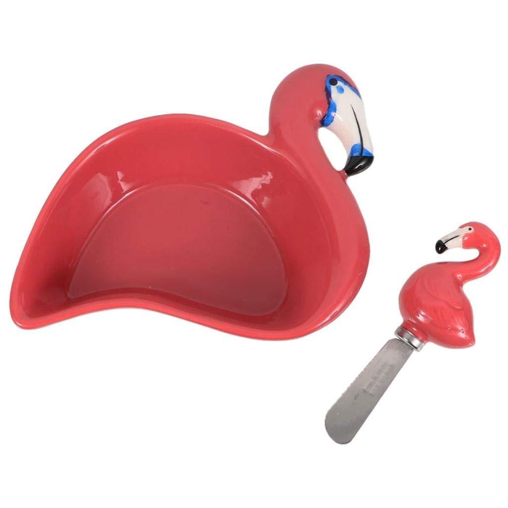 Set of 2 Pink 7.5w DEI 60195 Flamingo Dip Bowl /& Spreader Set 7.5w