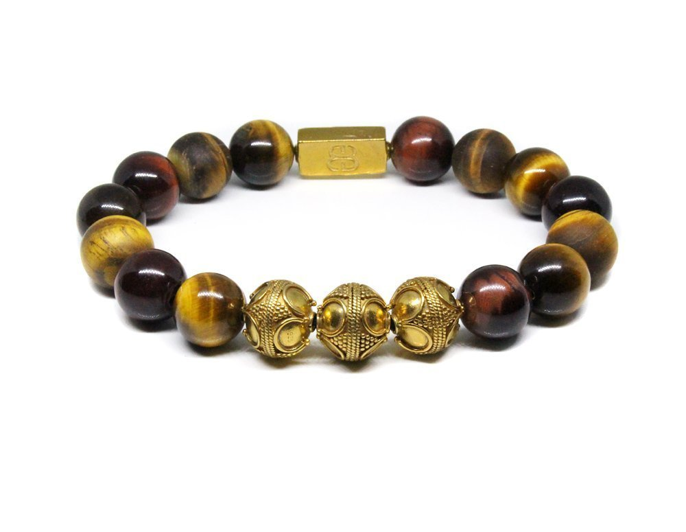Men's Mixed Tiger's Eye and Gold Beads Bracelet, Men's Luxury Tiger's Eye Bracelet