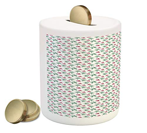 Lunarable Echinacea Piggy Bank, Simplistic Digital Drawn Cone Flowers Pattern, Printed Ceramic Coin Bank Money Box for Cash Saving, Pink Burnt Orange Forest Green White