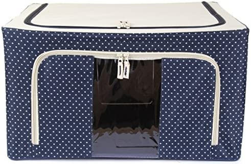 Kuber industrias Cubierta de tela,/Lehenga/Prendas de lana caja de almacenaje con marcos de acero – azul lunares: Amazon.es: Hogar