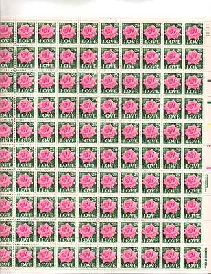 LOVE Pink Rose Sheet of 100 x 25 Cent US Postage Stamps NEW Scot (Rose Wedding Stamps)