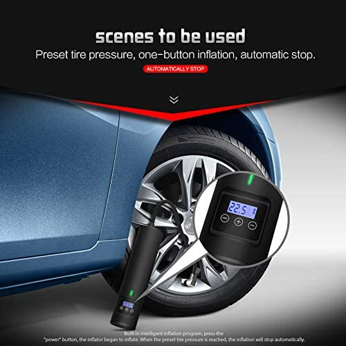 GREEN SHPTDJTIC Portable Air Compressor Hand Held Tire Pump 2000mAh Electric Air Pump for Car Tires with Digital LCD Display 150 PSI for Automobile Bike Bicycle Ball Balloon