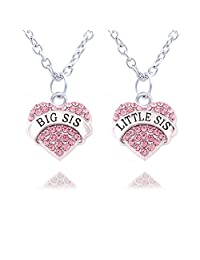 2pcs Family Jewelry Set Crystal Big Little Sister Pendant Necklace for Women Girl
