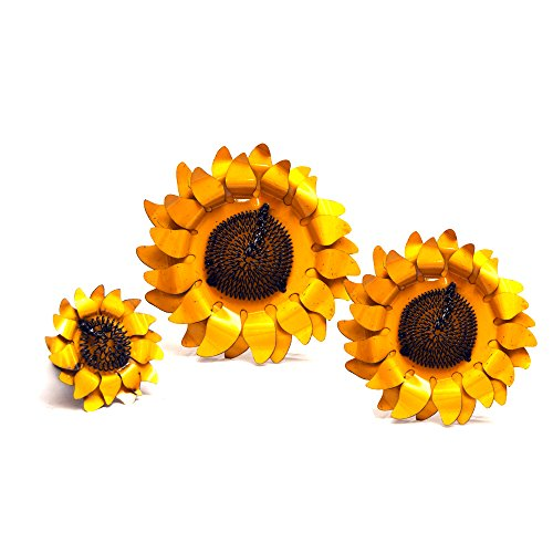 Rustic Arrow Wall Sunflower for Decor, 1 by 14.5 by 14-Inch, Yellow, Set of 3