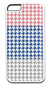 Colorblock Houndstooth-Pink,Blue,Grey- Case for the APPLE IPHONE 4, 4s -Hard White Plastic Outer Case with Tough Black Rubber Lining