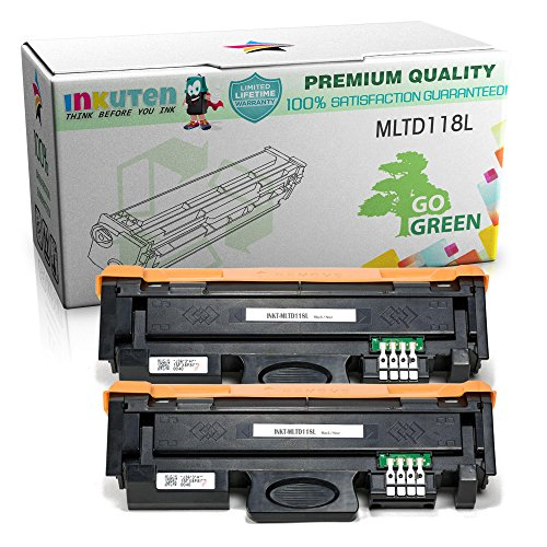 INKUTEN 2 Pack Compatible Samsung MLT-D118L Black Laser Toner Cartridge for Samsung Xpress M3015DW M3065FW Printers by INKUTEN