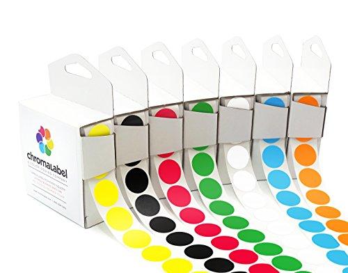 ChromaLabel Standard Color-Code Dot Label Kit | 7 Assorted Colors | 1,000/Dispenser Box (3/4 inch) ()