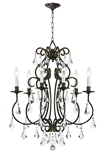 Light Accents Chandelier Six (Crystorama 5016-EB-CL-MWP Crystal Accents Six Light Chandeliers from Ashton collection in Bronze/Darkfinish,)