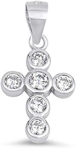 Cross Earrings Clear Simulated CZ .925 Sterling Silver