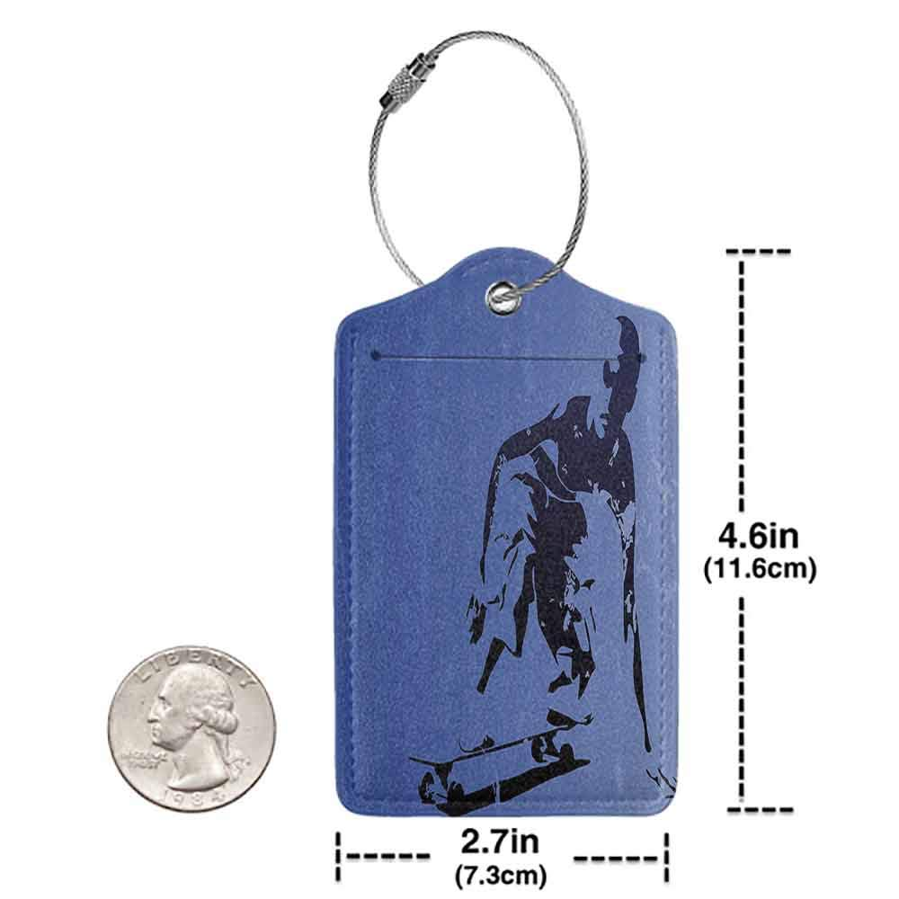 Waterproof luggage tag Teenager Decor Abstract Vector Illustration of a Young Skaterboy Illustration Art Soft to the touch Violet Blue Black W2.7 x L4.6