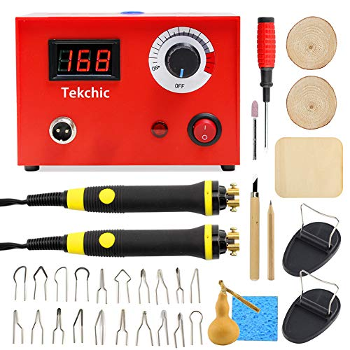 Tekchic Professional Wood Burning Machine Kit 23 Wire Tips Including Ball Tips, Dual Pen 110V 50W Pyrography Machine Dual Wood Burner for Wood/Leather/Gourd, Red