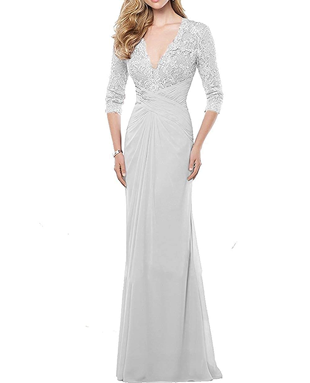 White Mother of The Bride Dresses with Long Sleeves Mothers Bride Dress Formal Gowns Evening Dresses