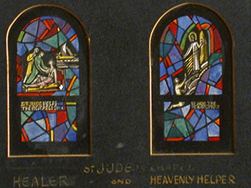 Design Drawing For Stained Glass Window Showing St Jude The Healer With Text   St Jude Helps The Incurable Sick     St Jude The Heavenly Helper  For St  Judes Church In Detroit  Michigan