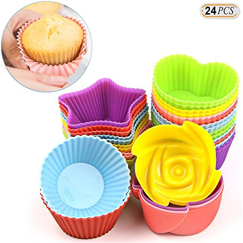 Hisight Muffin Moulds Reusable Nonstick Silicone Cupcake Liners 24 Pcs Heat Resisant Baking Cups For Baking Gelatin, Snack, Frozen Treats, Ice Cream,Hand soap soap model,Jelly pudding(Colorful) (Flowers Tin Colorful Round)