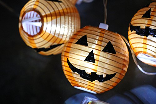 SYMWELL-24-Meters-Battery-Powered-10-PCS-Pumpkin-Ghost-Paper-Hanging-Lanterns-Halloween-Decoration-Light-StringProps-For-Haunted-Holiday-Party
