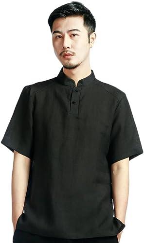 SK Studio - Camisa Casual - Túnica - Básico - Cuello Mao - Manga Corta - para Hombre: Amazon.es: Ropa y accesorios