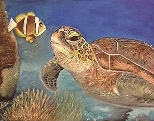 (Wowdecor 5D Crystal Diamond Painting with Diamonds Kits, Turtle Fish Sea, Full Drill DIY Diamond Dotz Embroidery Crafts Graphy Art)