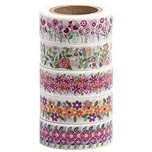 Washi Tape (Japanese Masking Tape) by MIKOKA, 0.6 Inches Wide, 32.8 Feet Long, Set of 5 - Flowers