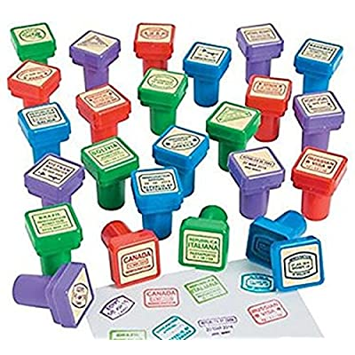 Set of 24 - Passport Stampers and 12 sticker books: Toys & Games
