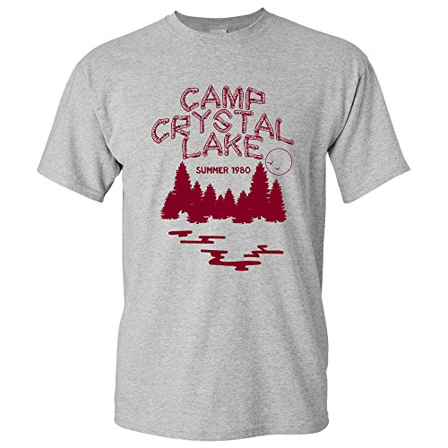 UGP Campus Apparel Camp Crystal Lake - Funny 80s Horror Movie Halloween T Shirt - Medium - Sport Grey