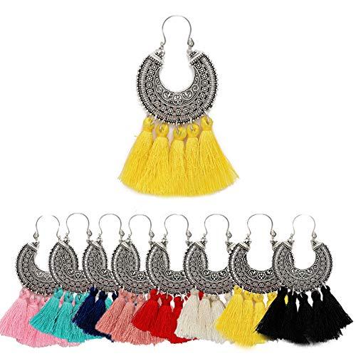 (AMCHIC Fan Shape Bohemian Statement Silky Tassel Fashion Earrings for Women Dangling,Thread Fringe with Vintage Ethnic Pattern Metal Drop Pendant Earrings,Ladies' Gift,Yellow)