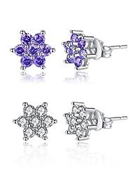 Spiritlele Women Assorted Stud Earrings Swarovski Elements Color CZ Crystal Pearl Golden Ball Pierced Earrings Set