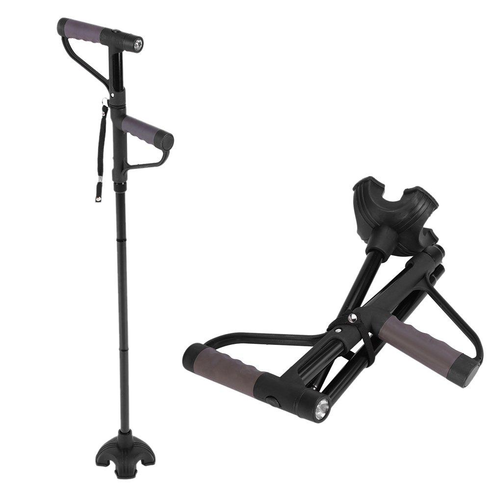 Adjustable Folding Cane, Anti-slip Double Handle Self Standing Travel Walking Stick with LED Light