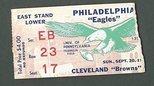 Philadelphia Eagles Vs. Cleveland Browns Ticket Stub Sept. 16th, 1962 123950 (Cleveland Browns Ticket Stub)