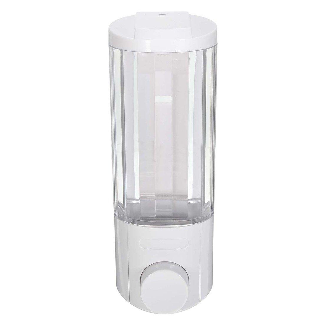 SODIAL Liquid Soap Dispenser Wall Mounted Bathroom Hand Sanitizer Shower Gel Shampoo Titanium white