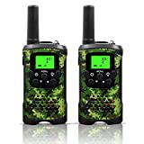 Kids Walkie Talkies, UOKOO 22 Channels and Back-lit LCD Screen (up to 6KM in open areas) Walkie Talkies for Kids (1 Pair) ArmyGreen T48