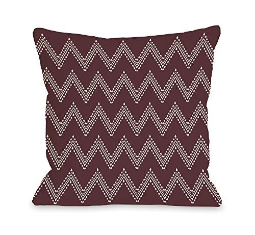 "One Bella Casa Athena Tier Chevron Outdoor Throw Pillow, 18""x 18"", Chocolate Truffle/Cream"