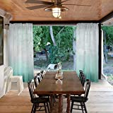Macochico Outdoor Rod Pocket Gradient Sheer Curtains for Patio Garden Backyard Gazebo Porch Teal Ombre Voile Drapes Dustproof Privacy Protection Home Decoration 84W x 84L (1 Panel)