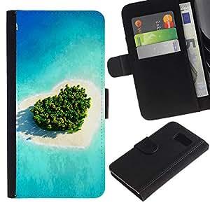 NEECELL GIFT forCITY // Billetera de cuero Caso Cubierta de protección Carcasa / Leather Wallet Case for Samsung Galaxy S6 // Isla del amor del corazón