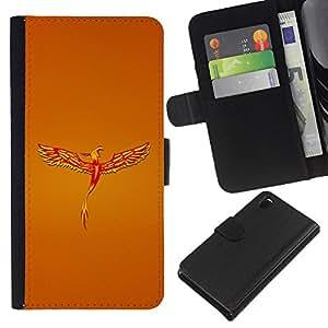 KingStore / Leather Etui en cuir / Sony Xperia Z3 D6603 / Golden Phoenix