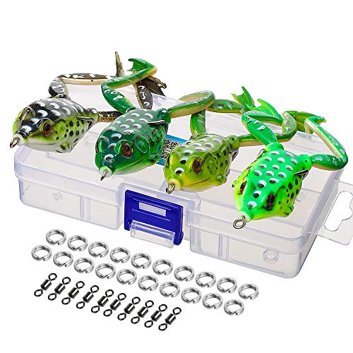DONQL Topwater Frog Lures, Artificial Frog Fishing Lure Kit with Tackle Box for Bass Dogfish Musky Snakehead Pike Trout (Multicolors) (4 Frog Lures with Legs)