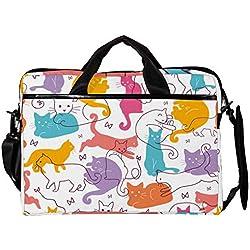 MAPOLO portafolios Ligero para portátil de 15 Pulgadas, portafolios de Negocios para Gatos, Funda para computadora, Tablet, Bolso de Hombro para Hombres y Mujeres