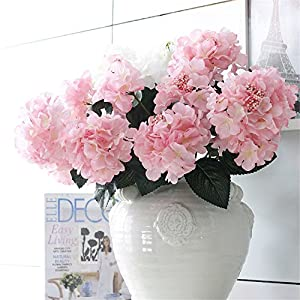 "Crt Gucy Artificial Flowers 18"" Silk 6 Big Heads Fake Silk Hydrangea Bouquet for Wedding, Room, Home, Hotel, Party Decoration and Holiday Gift 7"