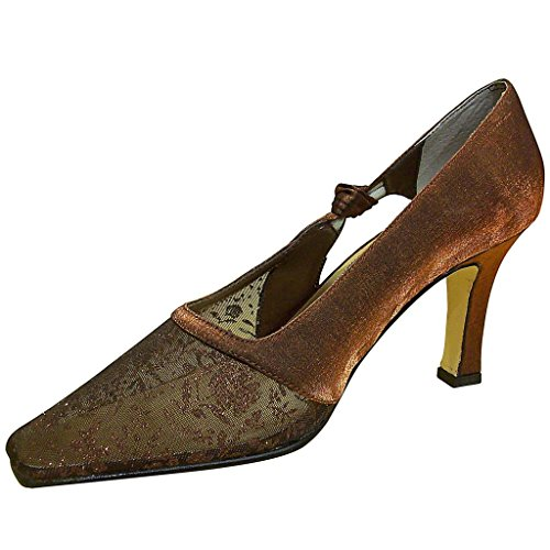 Jacques Levine Womens High Bal Satin And Mesh Pumps Bronze Shimmer Z9A4RKo