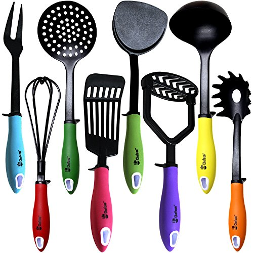 Kitchen Utensils Cooking Set by Chefcoo Includes 8 Pieces Non-stick Cookware Gadgets - Masher, Spaghetti Server, Skimmer, Soup Ladle, Fish Slotted Turner, Whisk, Turner, Fork