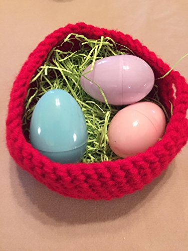 - Free shipping to USA included in price Hand Crochet Small Easter Basket made with CHERRY RED 100% acrylic yarn