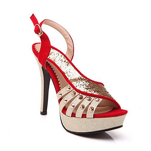 Amoonyfashion Kvinna Peep Toe Kick-häl Mjuka Material Diverse Färg Spänne Sandaler Röda