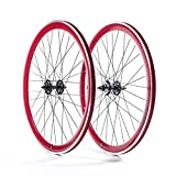 State Bicycle Fixed Gear/Fixie 700c Machined Track Wheels, Front Plus Rear, Red by State Bicycle Co.