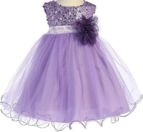 Little Baby Girls Sleeveless Sequin Glitter Little Baby Infant Toddler Flower Girl Dress Lavender XL (K31D5)