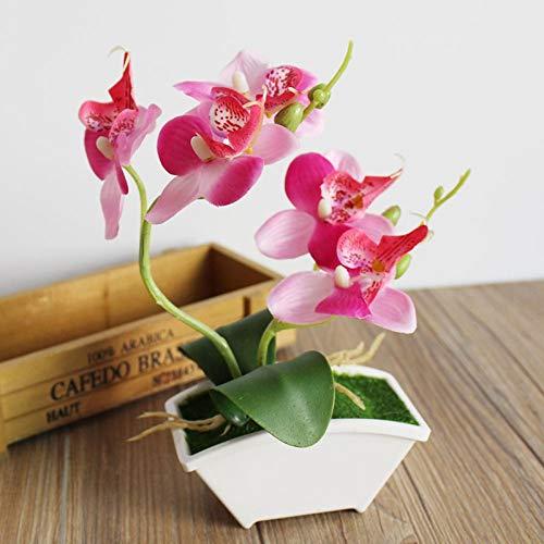 Artificial & Dried Flowers - Rtificial Butterfly Orchid Flower Vase Mini Bonsai Set Silk Flowers Large Fake Home Decoration - Stems Assorted Colorful Lemon Succulent White Plant Tropical Grape