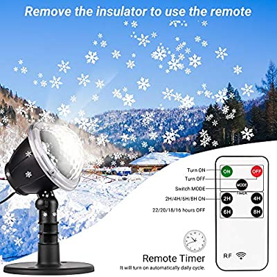 Christmas Projector Lights, Outdoor LED Snowflake Christmas Lights with Remote Control, Outdoor Landscape Patio Garden Decorative Lighting for Christmas Xmas Holiday Birthday Party Stage