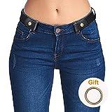 Ladies Elastic Belt Women Mens No Buckle Belt Black Adjustable Stretch Jeans Waist Belt, 01-black, Suit Waist 22inch-34inch