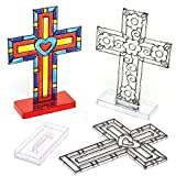 Cross Stand-up Suncatchers for Children to Color-In Decorate and Personalize Easter Christian Crafts (Pack of 4)